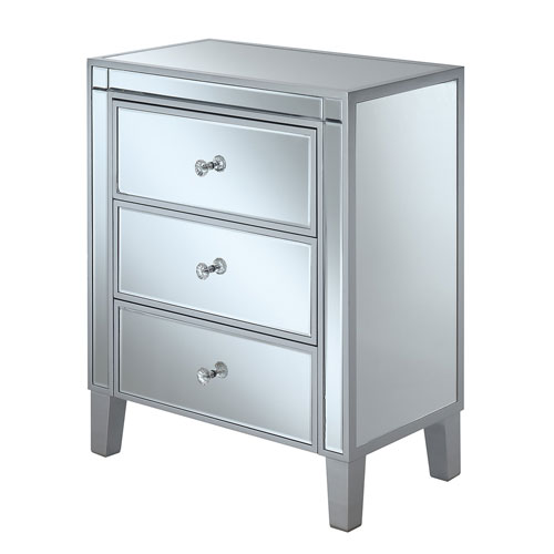 Gold Coast Large 3 Drawer Mirrored End Table in Silver
