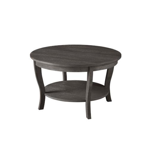 American Heritage Dark Gray Wirebrush MDF Round Coffee Table