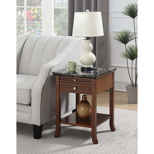 American Heritage Logan Black and Espresso End Table with Drawer and Slide