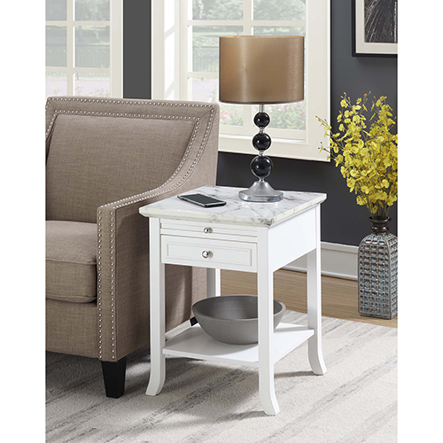 American Heritage Logan White End Table with Drawer and Slide