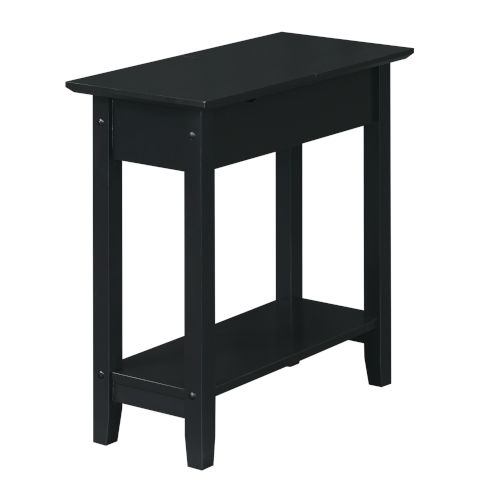 American Heritage Black Flip Top End Table with Charging Station