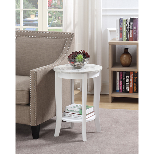 Convenience Concepts American Heritage White Faux Marble Round End Table
