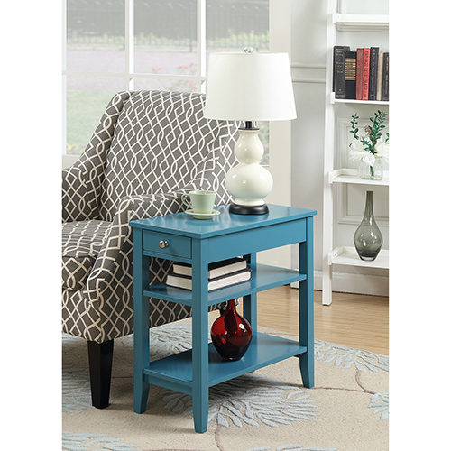 American Heritage Blue Three Tier End Table with Drawer