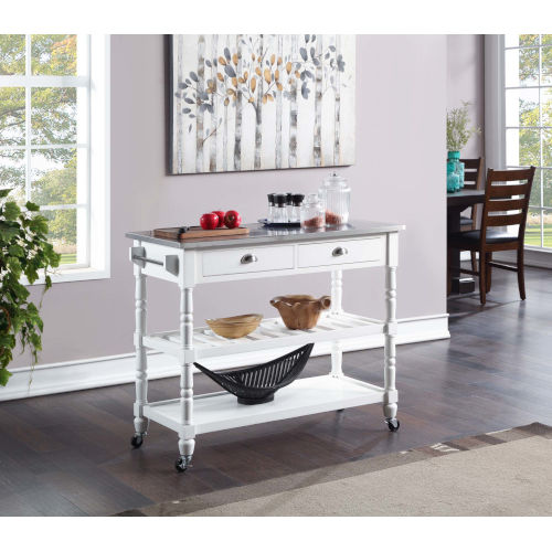 French Country White Kitchen Cart
