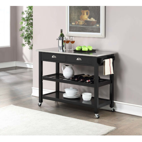 American Heritage Black Kitchen Cart