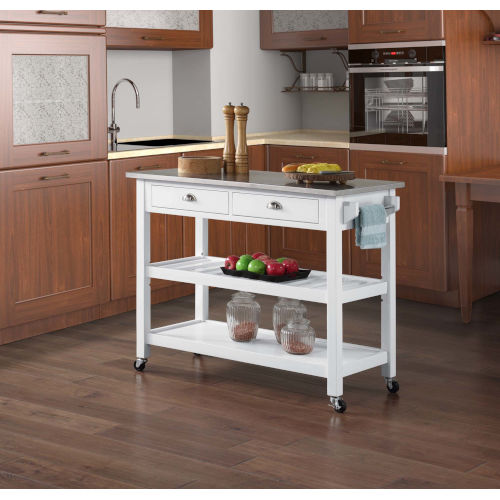 American Heritage White Kitchen Cart
