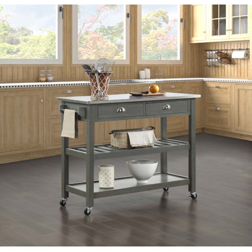 American Heritage Wirebrush Dark Gray Kitchen Cart