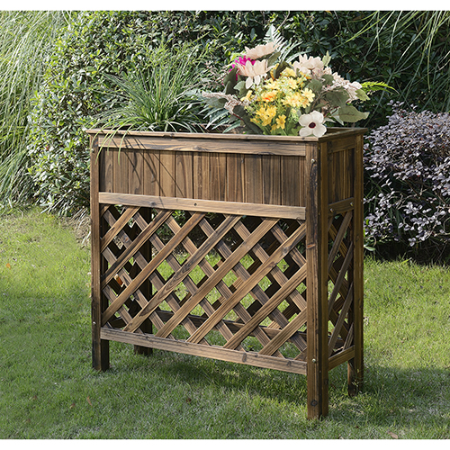Convenience Concepts Planters and Potts Weathered Cedar Raised Patio Planter
