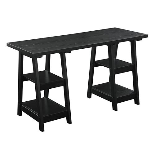 Convenience Concepts Designs2go Black Double Trestle Desk