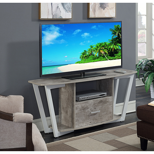 Convenience Concepts Graystone 60 Inch Gray And White Tv Stand