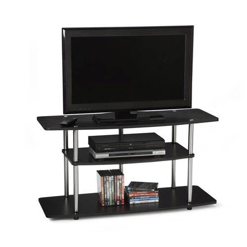 Convenience Concepts Designs2go Black Wide Three Tier Tv Stand
