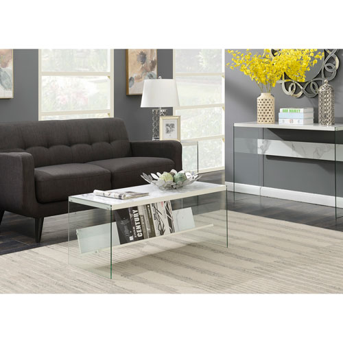 Convenience Concepts Soho Faux White Marble Coffee Table