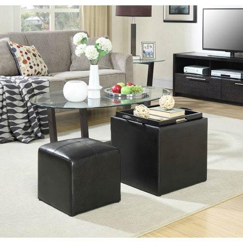 Designs4Comfort Park Avenue Black Single Ottoman with Stool
