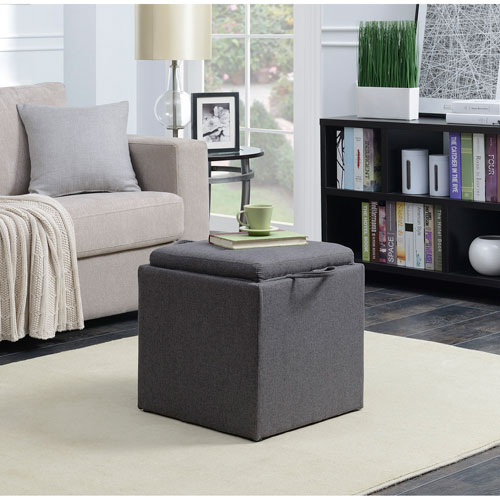 Convenience Concepts Designs4Comfort Soft Gray Park Avenue Single Ottoman with Stool