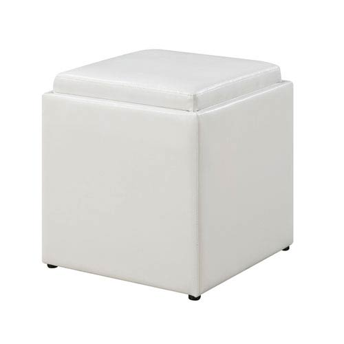 Terrific Convenience Concepts Park Avenue White Single Ottoman With Stool Andrewgaddart Wooden Chair Designs For Living Room Andrewgaddartcom