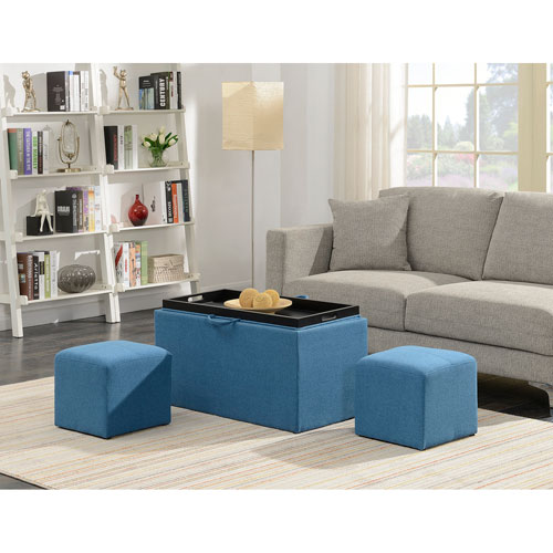 Convenience Concepts Designs4Comfort Soft Blue Sheridan Storage Bench with 2 Side Ottomans