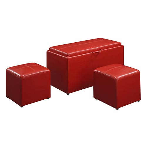 Convenience Concepts Designs4Comfort Sheridan Red Storage Bench with Two-Side Ottoman