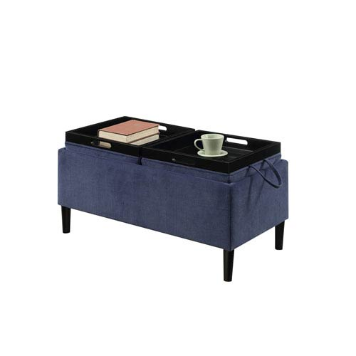 Designs4Comfort Blue Magnolia Storage Ottoman with Trays