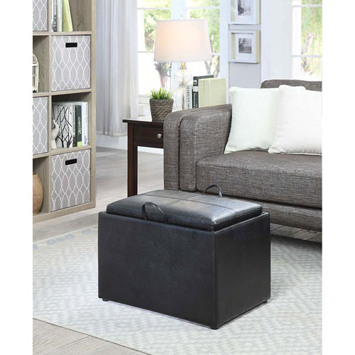 Convenience Concepts Designs4Comfort Black Accent Storage Ottoman