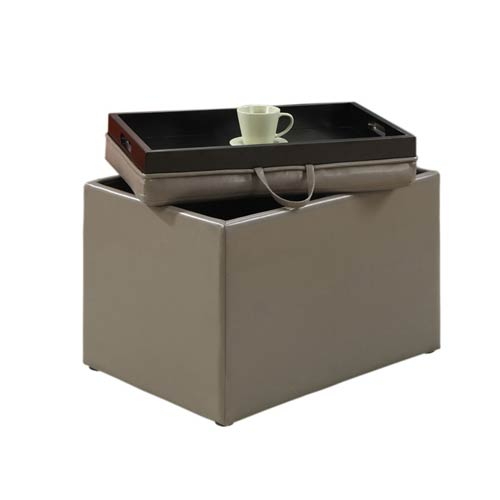 Convenience Concepts Designs4Comfort Grey Accent Storage Ottoman with Tray Top