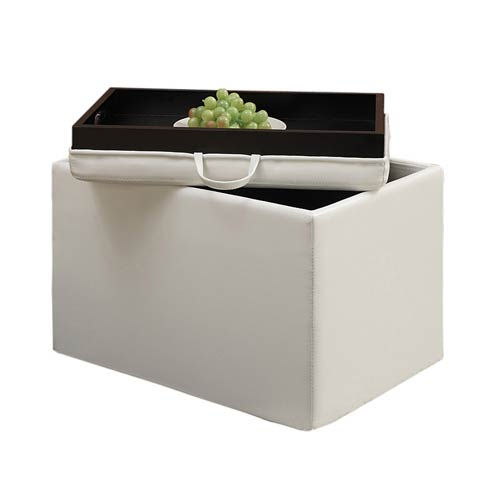 Designs4Comfort Ivory Accent Storage Ottoman with Tray Top