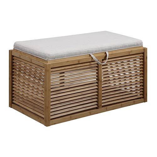 Designs4comfort Bamboo and Beige 35.5-Inch Long Double Ottoman