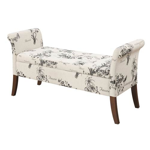 Convenience Concepts Garbo Storage Bench, Botanical Fabric