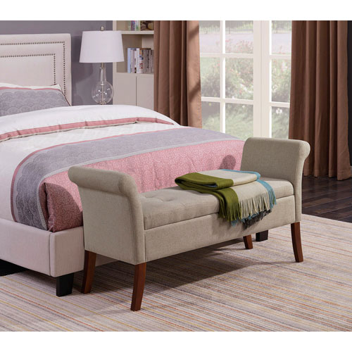 Designs4Comfort Soft Beige Garbo Storage Bench