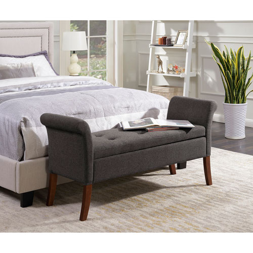 Designs4Comfort Soft Gray Garbo Storage Bench