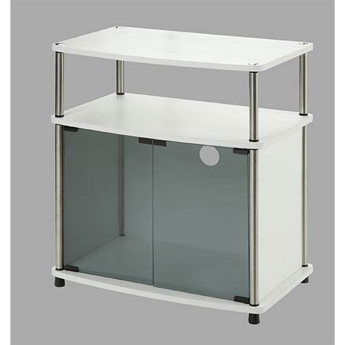 Convenience Concepts Designs2go White TV Stand with Black Glass Cabinet