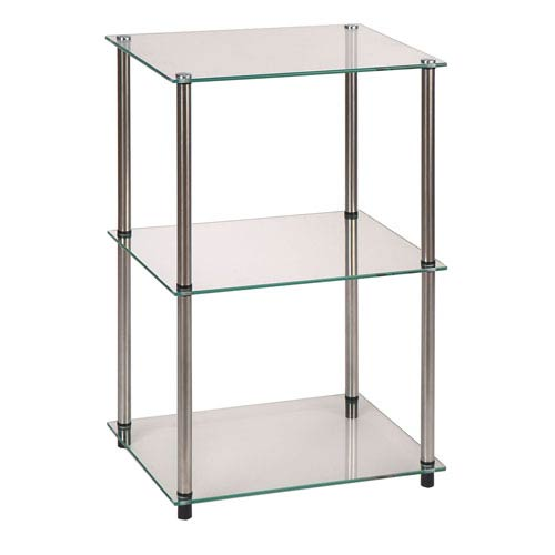 Classic Glass Stainless Steel Three-Tier End Table