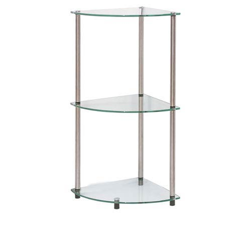 Classic Glass Stainless Steel Three-Tier Corner Shelf
