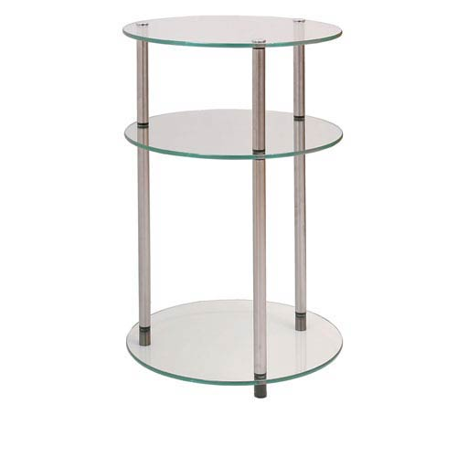 Convenience Concepts Classic Glass Stainless Steel Three-Tier Round Table