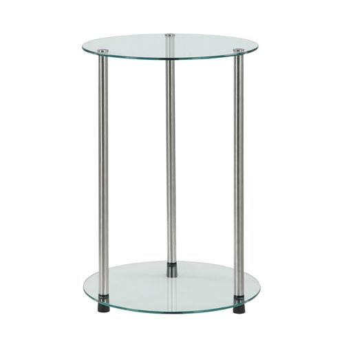 Convenience Concepts Designs2Go Glass 2 Tier Round End Table