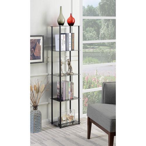 Convenience Concepts Designs2Go Black 5 Tier Glass Tower