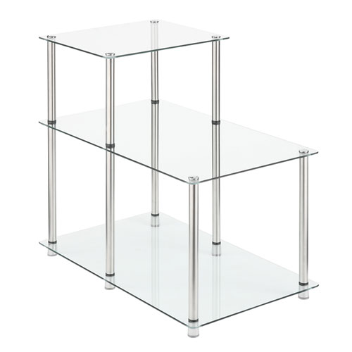 Convenience Concepts 3 Tier Glass Step End Table