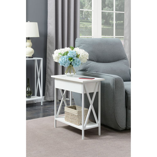 Tucson White Electric Flip Top Table