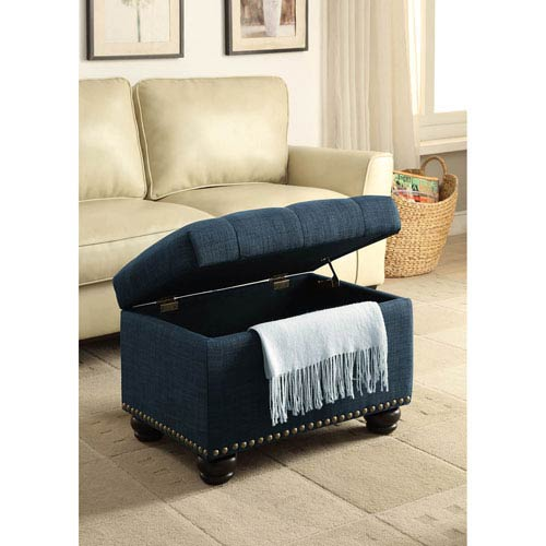5Th Avenue Blue Fabric Storage Ottoman