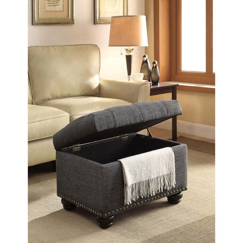 5Th Avenue Gray Fabric Storage Ottoman