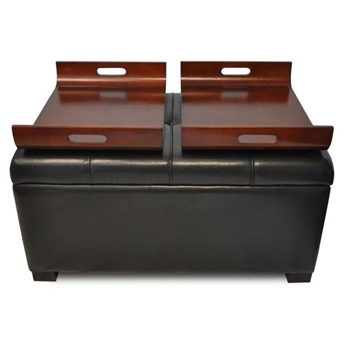 Convenience Concepts Designs4Comfort Espresso Storage Ottoman with Trays