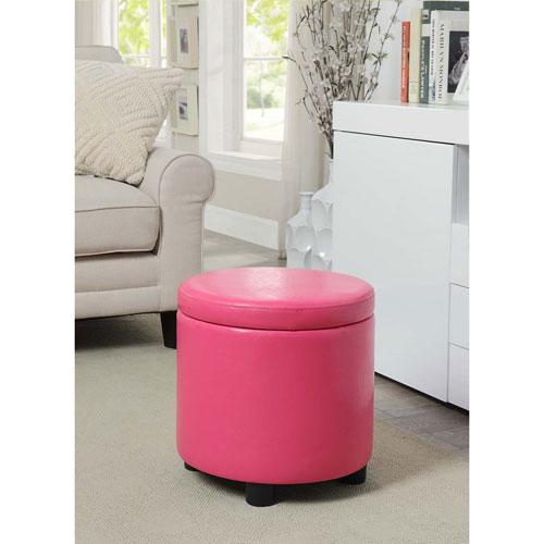 Designs4Comfort Pink Round Accent Storage Ottoman