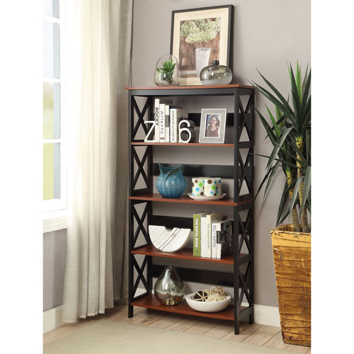 Oxford Cherry with Black 5 Tier Bookcase