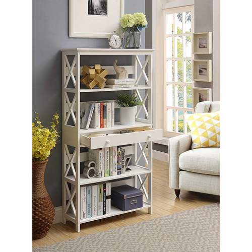 Convenience Concepts Oxford 5 Tier Bookcase With Drawer White