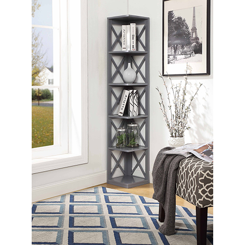 Convenience Concepts Oxford 5-Tier Corner Bookcase, Gray