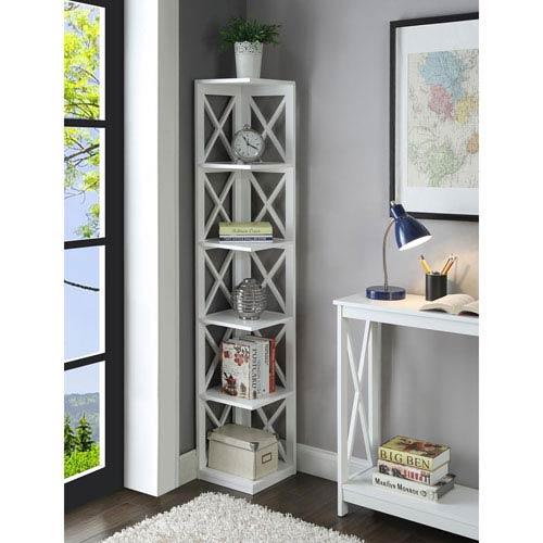 Oxford White 5 Tier Corner Bookcase