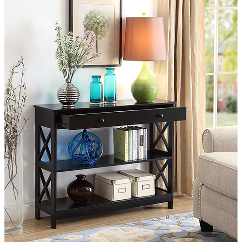 Oxford 1 Drawer Console Table, Black