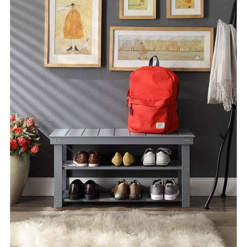 Oxford Gray Utility Mudroom Bench
