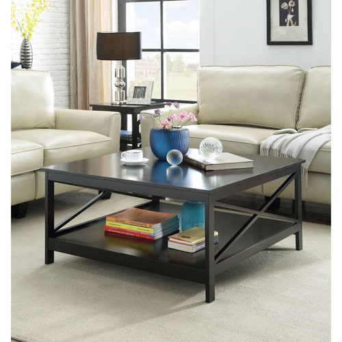 Convenience Concepts Oxford Black 36 Inch Square Coffee Table