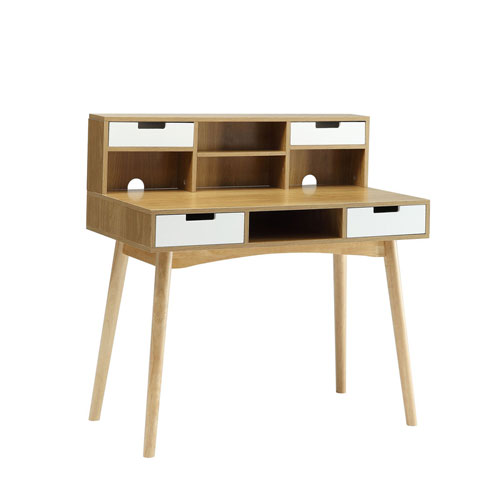 Oslo Light Oak Computer Desk with Hutch