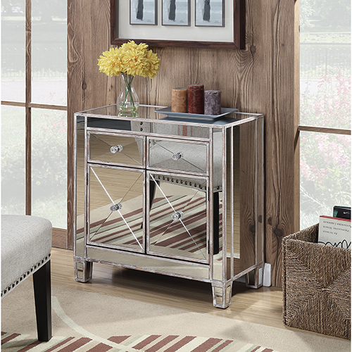 Convenience Concepts Gold Coast Vineyard 2-Drawer Mirrored Hall Table